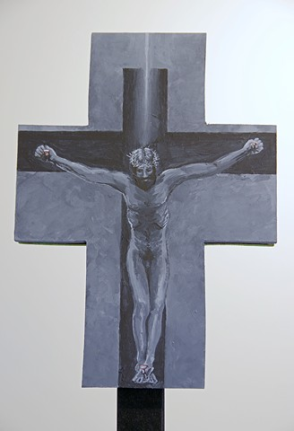 Detail of Processional Cross Grey Good Friday crucifixion