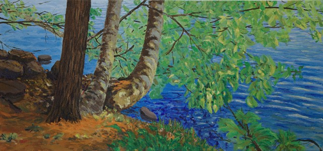 landscape painting of riverbank on a sunny day