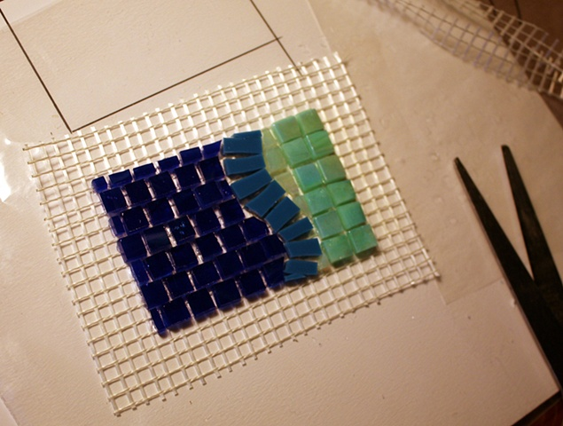 Working with Fiberglass Mosaic Mesh - 9