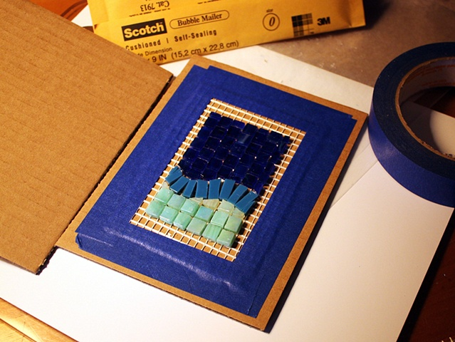 Packaging a mesh mosaic to survive the mail - 2