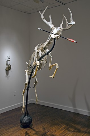 deer skeleton sculpture steven finke leaping