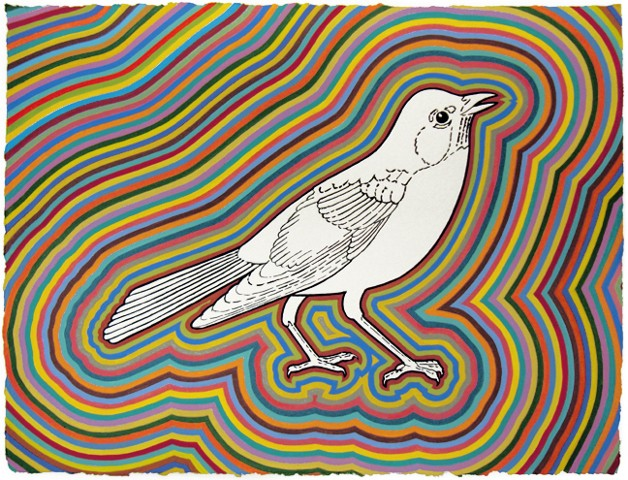 Mark Wethli Robin Flashé on hand-made paper, 11 x 16 inches