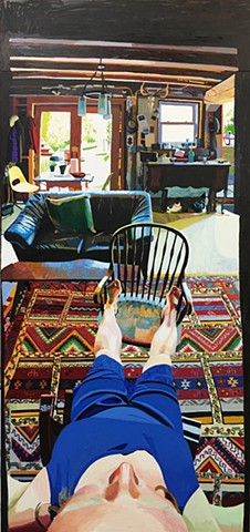 Chelsea Gibson Self-Portrait in Living Room, Feet Up