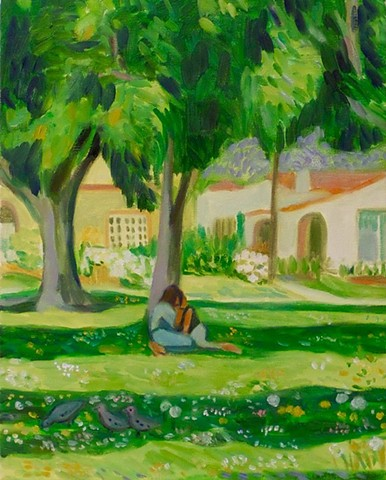 "Paige Turner-Uribe Teenagers on the Grass 16x20"" oil on canvas"