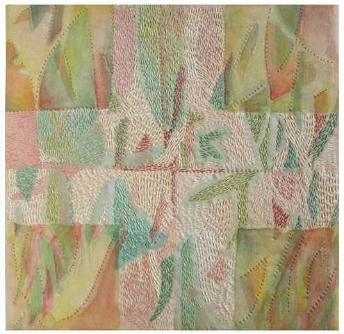 "Elizabeth Fram  Parterre II Paint and stich on silk 12"" x 12"""