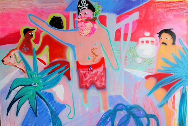 "Emilie Stark-Menneg  The Lydia Sue Acrylic and oil on canvas 70""x105"""