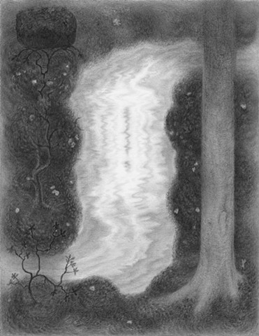 "Glimpse Joshua Marsh graphite on paper, 10.5"" x 8"""