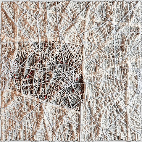 Erica Licea-Kane  Through #1 fabric, sewing, couching,  handprinted paper,  acrylic medium/pigment 12 x 12 x 2""