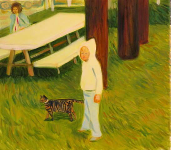 "Paige Turner Uribe The Neighbor's Cat 14""x16""  oil on canvas"