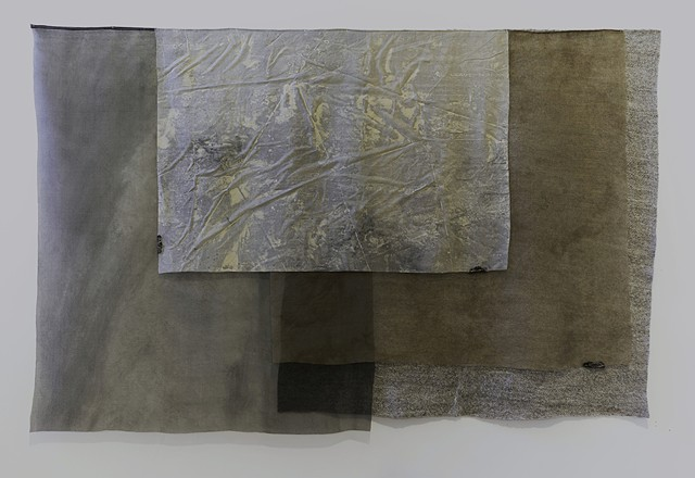 "Martha Tuttle  Weather Silk, wool, pigment, dye, steel 52"" x 40"""