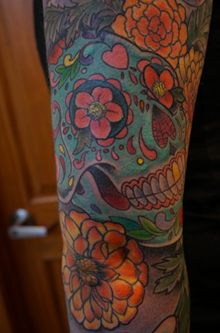 calavera sleeve detail