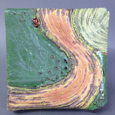 Handbuilt ceramic art piece for wall display. Original glazes, one of a kind.
