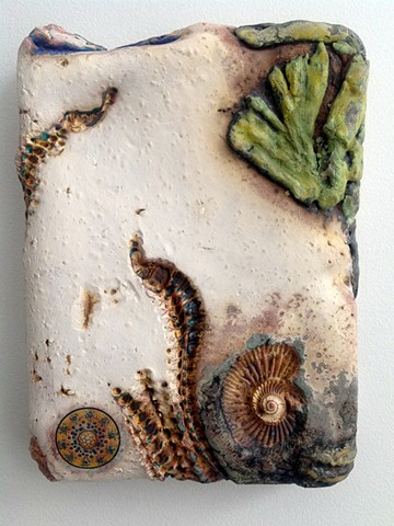 Handbuilt earthenware wall piece. Niagara Escarpment series.