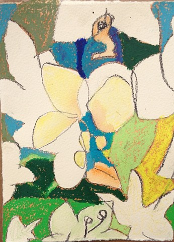 Organic abstraction meets minimalist color field painting in this spring time rendition of an orchid arrangement.