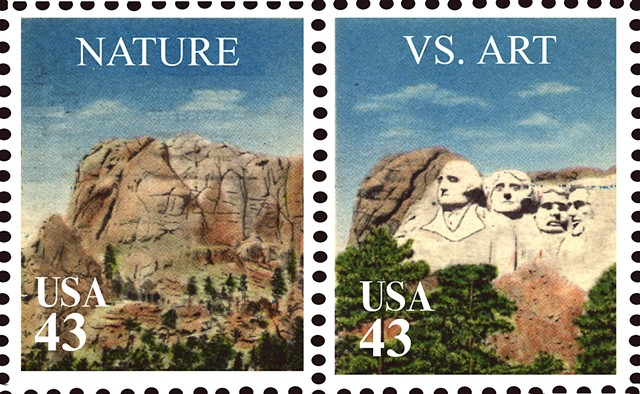 Michael Thompson Chicago artist, fake postage stamps, artiststamps, art stamps, Mt. Rushmore stamp
