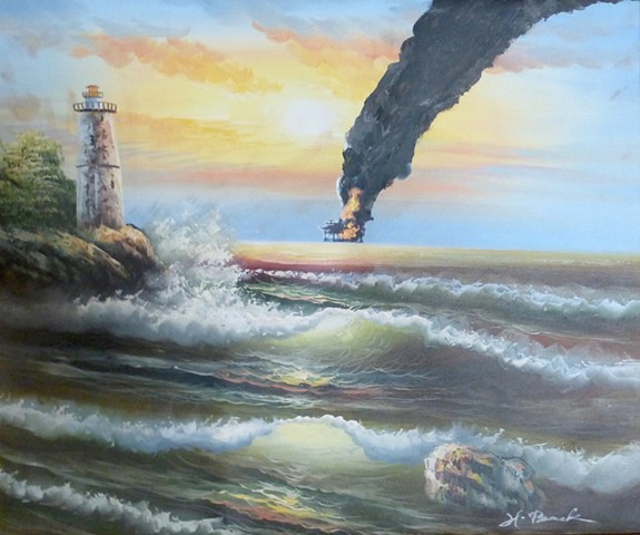 michael Thompson Chicago artist, oil rig explosion, Oil Rig Fire, Deep Water Horizon memorial picture,