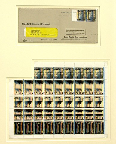 Michael Thompson Chicago artist, artistamps, Fake Postage Stamp, Double Impression, Print offset