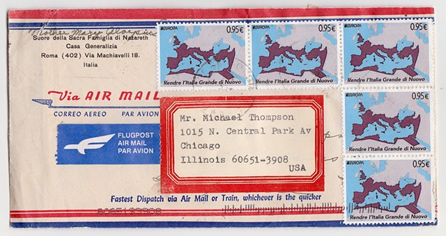 Michael Michael Thompson Chicago artist, fake postage stamps. faux philately, artistamps