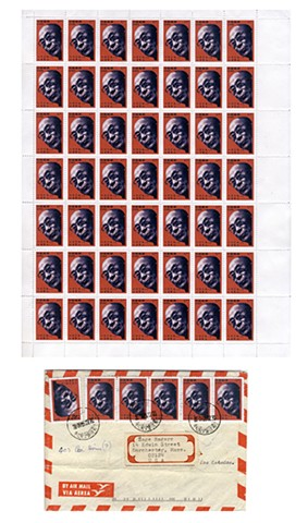 Michael Thompson Chicago artist, fake postage stamps, artiststamps, art stamps, Dalai Lama stamp