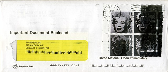 Michael Thompson Chicago artist, Marilyn Monroe postage stamp, fake stamps, overprinted postage stamp by Michael Thompson
