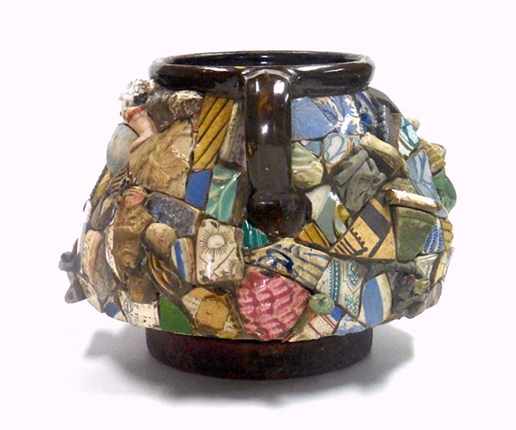 Michael Thompson Chicago Artist, Memory Jug, mosaic, found object sculpture,  michaelthompsonart.com