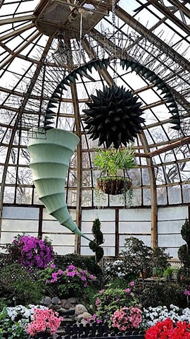 "Michael Thompson Chicago Artist, ""Spring Rising"", Lincoln Park Conservatory, Chicago, suspended art, suspended kite"