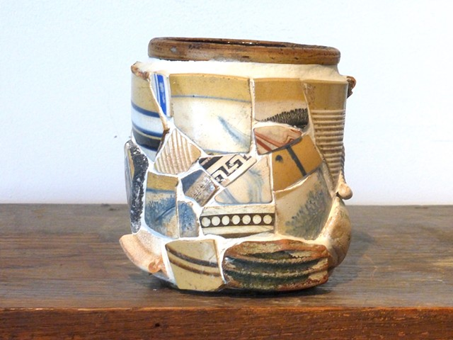 michael Thompson Chicago artist, memory jug, mosaic, combed slipware, Mudlarking,Thames River