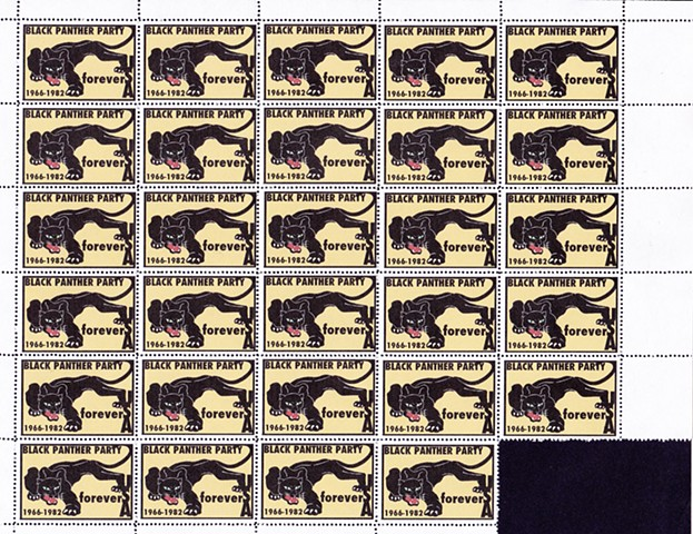 Michael Thompson Chicago artist, fake postage stamps, artiststamps, art stamps, Black Panther Postage stamp