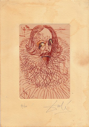 Dali etching, Cervantes, Michael Thompson Chicago artist, Signed Dali Print, altered Dali print,