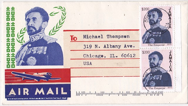 Michael Thompson Chicago artist, fake postage stamps, artiststamps, art stamps, Haile Selassie, Jamaica