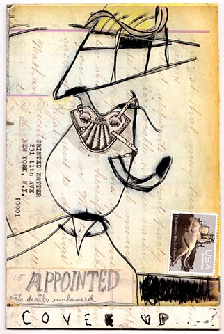 Michael Thompson Chicago Artist, mail art, collage, fake postage stamps