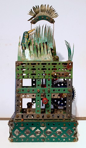 Kinetic sculpture, erector set sculpture, Michael Thompson Chicago artist