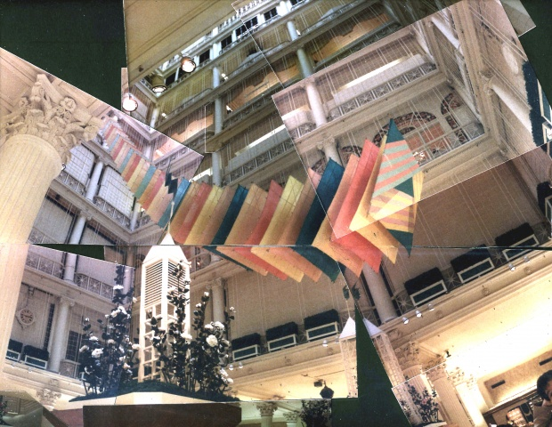 Michael Thompson Chicago artist, Marshall Fields State Street Store Atrium, suspended sculpture, Atrium art, atrium sculpture, Atrium art, hanging kites, segmented kites