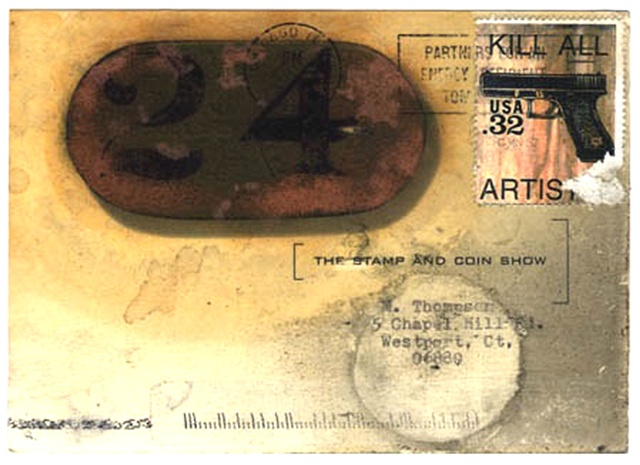 Kill All Artists, Fake stamp, Stamp and Coin Show, guns on stamps, artistamps, Michael Thompson Chicago artist