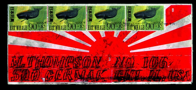 Michael Thompson Chicago artist, artistamps, Japanese stamp