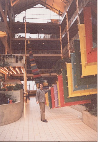 Michael Thompson Chicago artist, hanging kite, segmented kite, art kite, atrium art, suspended sculpture, atrium sculpture