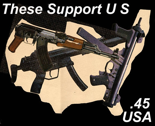 Michael Thompson Chicago artist, artistamps, Gun Support, NRA, Imaginary stamp supporting guns