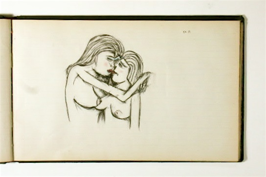 Erotic drawing, pen and ink drawing