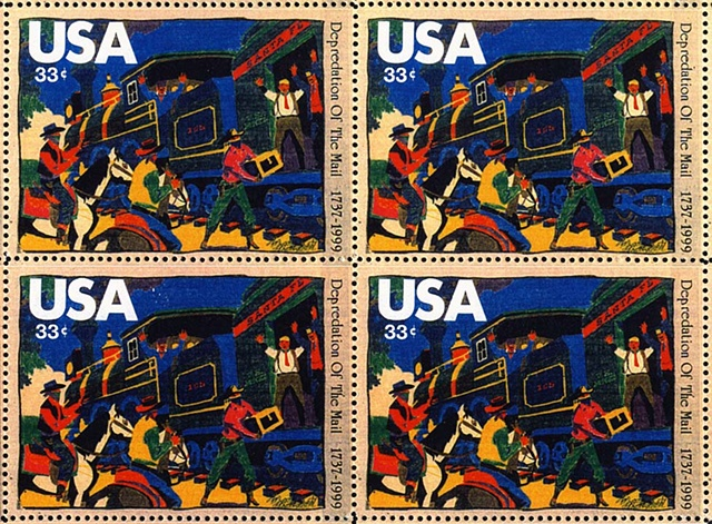 Michael Thompson Chicago artist, michael thompson fake stamps, fake stamps, air mail stamps