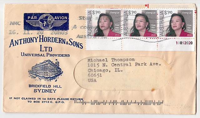 Michael Thompson art.com, fake postage stamps, artistamps, Chinese stamps, Cheng Lei detention