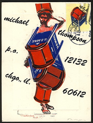 Michael Thompson Chicago artist, fake postage stamp , artistamps, fake stamps