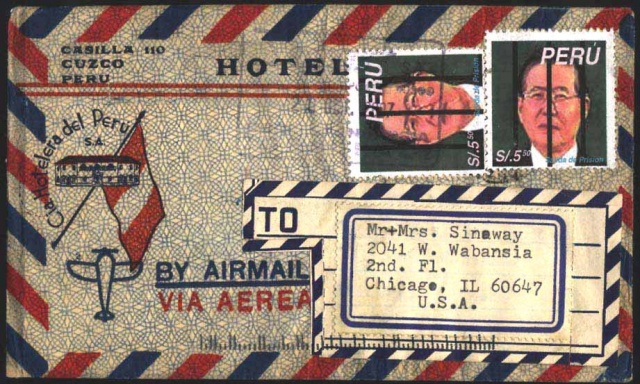 Alberto Fujimuri, fake Peruvian stamp, Michael Thompson Chicago artist, fake stamps