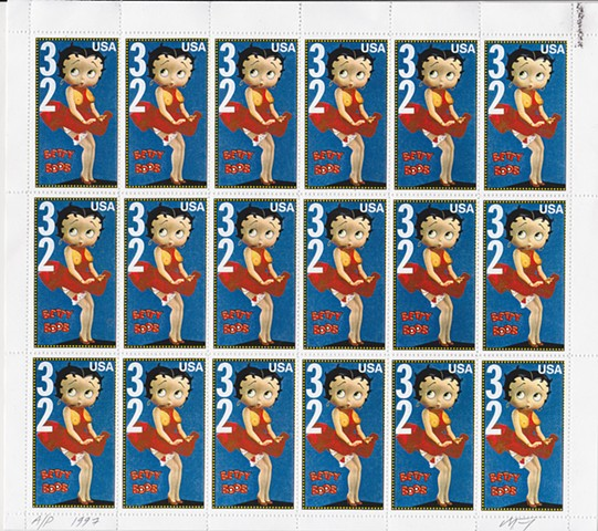 michael thompson Chicago artist, artistamps, michael thompson fake stamps, fake stamps, Betty Boop, Boobs on postage stamps