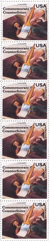 Michael Thompson Chicago artist, fake postage stamps, artiststamps, art stamps,Counterfeiter postage stamp