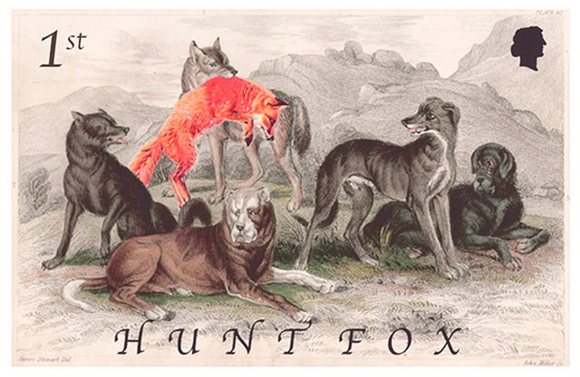 Michael Thompson Chicago artist, fake postage stamps, artiststamps, art stamps, English stamp, Fox Hunting Stamp