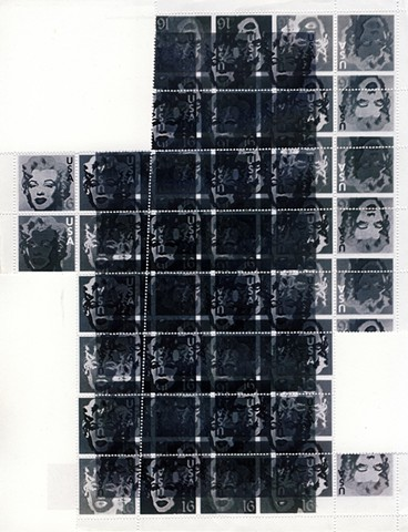 Michael Thompson Chicago artist, artistamps, Inverted sheet of fake stamps, Marilyn Monroe