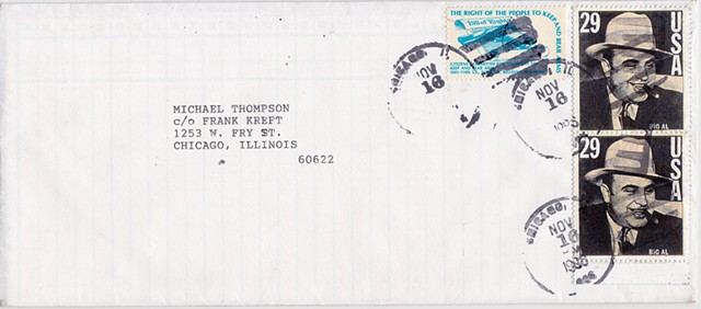 Michael Thompson Chicago artist, Al Capone postage stamp, Al Capone image, fake stamps, artistamps, michaelthompsonart.com