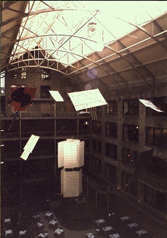 Michael Thompson Chicago artist, atrium art, hanging sculpture, installation art, windmills, large kites, suspended sculptures