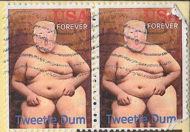 Michael Michael Thompson Chicago artist, Donald Trump Stamp, fake postage stamps. faux philately, artistamps