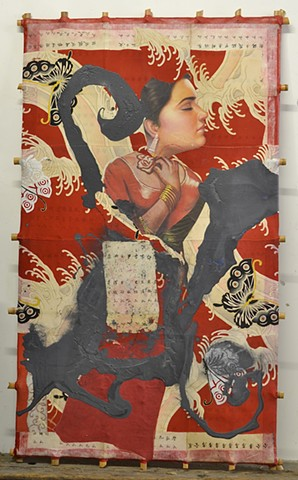 Michael Thompson Chicago artist, Kites, Decorative Kite, Pagoda Red, Calligraphy, Michael Thompson kites, oriental artwork